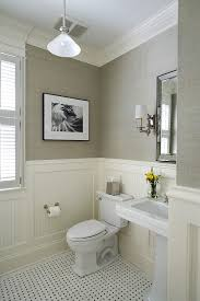 bathroom chair molding. despite the neutral colors, this room is full of texture, including bathroom chair rail molding, beadboard panels, and gray grasscloth. molding renocompare