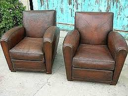 vintage leather club chairs. Vintage French Leather Club Chairs - Tours Pair