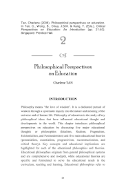 Importance Of Philosophy In Curriculum Design Pdf Philosophical Perspectives On Education