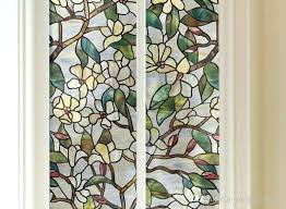 stained glass window magnolia flower stained glass static cling window for bathroom frosted stained glass window