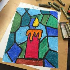 i recommend drawing the candle and tracing all the lines several times with a black pastel so they are really thick when you color in the shapes at the end