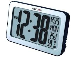 large atomic digital wall clock with indooroutdoor temperature and date large digital wall clock with timer