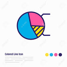 Beautiful Pie Chart Vector Illustration Of Pie Chart Icon Colored Line Beautiful