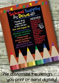 church invitation flyers school supply drive church or community event 5x7 invite 8 5