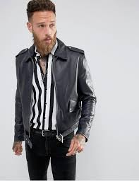 blackdust l a classic leather jacket in navy