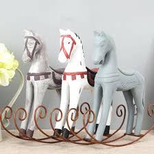 rocking horse decor creative retro wooden rocking horse ornaments animal gift vintage study home decor