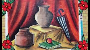 still life with oil pastel for elementary and interate drawing exam