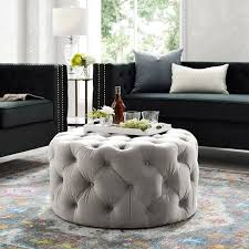 tufted ottoman light gray pink beige