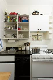 For A Small Kitchen Space Design White Small Kitchen Cabinet With Open Shelves Black Glossy