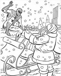 Spiderman Coloring Pages Christmas With Santa Christmas Coloring