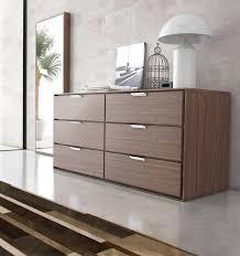 Modern Walnut Bedroom Furniture Nice Plywood 6 Drawer Modern Dresser With Chrome Pull Handle