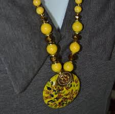 vintage murano yellow glass pendant and necklace