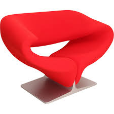 ribbon french armchair in red fabric pierre paulin 1966