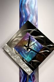 modern metal wall art pendulum clock abstract sculpture decor abstract painting clock on metal original art design by alex kovacs ak445