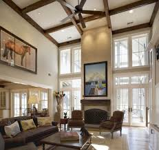 ... Decorating High Ceiling Walls Awesome High Ceiling Living Room With  Brown Wooden Beam Fan White Excerpt ...