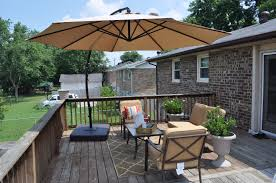 source via brown deck umbrella over wooden