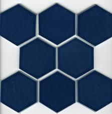kiln ceramic 4 hexagon tile color caspian blue eight tile close up