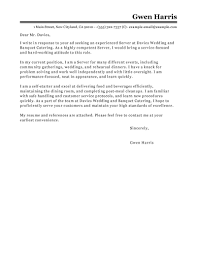 Marvelous Cover Letter Sample Server On Best Server Cover Letter