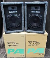 speakers in box. set of 10 2-way radio shack pa 110 monitor speakers in box