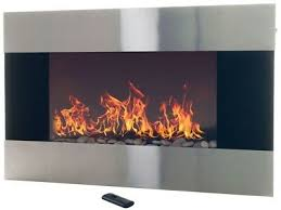 stainless steel electric fireplace wall mount remote silver heater modern