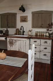 Kitchen Bar Rustic White Distressed Kitchen Cabinets With Wood