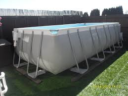 rectangle above ground pool sizes. Interesting Skimmer Through Wall On Rectangular Gray Intex Ultra Frame Pool Rectangle Above Ground Sizes