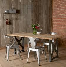 wood dining table design ideas metal brick wall with reclaimed wood dining table and metal chairs plus wood