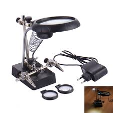 aliexpress com 2 5x 7 5x 10x desktop magnifying glass led light magnifier with spring table lamp helping hand soldering allegator clips from reliable