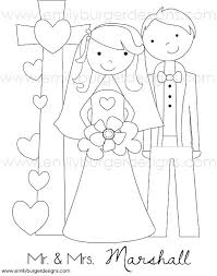 Custom Wedding Coloring Pages Personalized Wedding Coloring Page For