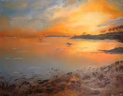 saatchi art dane street beach sunset impression painting by meggie zhang
