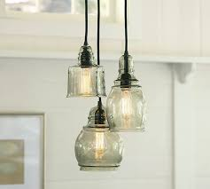 endearing paxton glass 3 light pendant pottery barn in lights