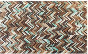 amasya parquet cowhide rug brown beige and turquoise image 10
