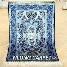 blue oriental rug silk carpet dark handmade exquisite rugs uk navy