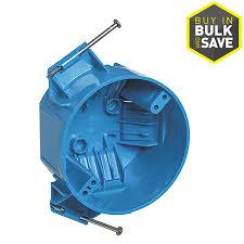carlon 1 gang blue pvc interior new work standard round ceiling electrical box