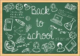 School Chalkboard Background Back To School Education Icons Over Green Chalkboard Background