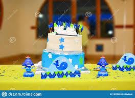 One Year Old Birthday Cake Stock Photo Image Of Decorations 136755892
