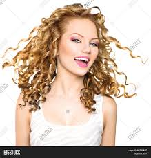 Curly Hair Style Up beauty model girl with blowing blonde curly hair portrait 3011 by wearticles.com