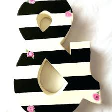 wall decoration black and white striped letters with tiny pink roses any letter ampersand decor personalized ampersand wall art