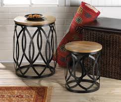 round wood and metal coffee table for living room