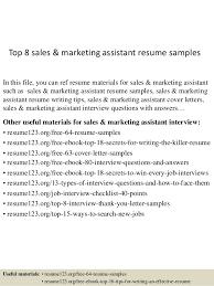 Top   sales  amp  marketing assistant resume samples SlideShare