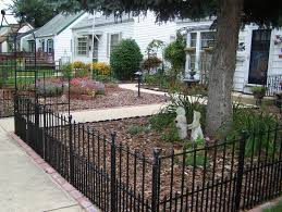 front yard fence. Wrought Iron Fence In Front Yard. Lowes Has This Option No Dig At Around $25 A PanelI Literally Just Finished Doing To Section Of ,y Backyard Yard E