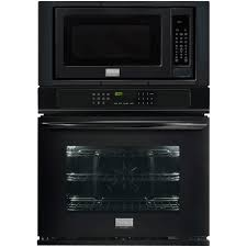 electric convection wall oven with built in microwave in black
