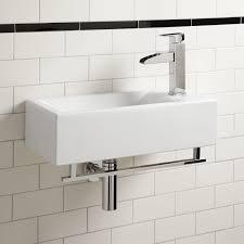 leiden porcelain wall mount sink with towel bar