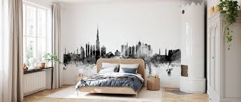 Dubai Skyline Black – a wall mural for ...
