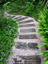 Small Picture Wooden slats garden path design ideas shrubs Garden Design