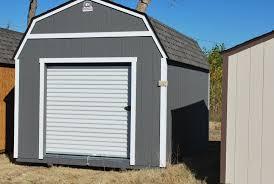 10 x 16 lofted clic w 6x6 garage door painted dark gray white