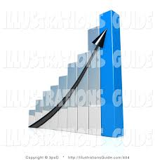 Chart Showing Increase Illustration Of A Black Arrow Going Up A Silver And Blue Bar