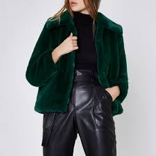 green faux fur puffball coat 100 00 riverisland
