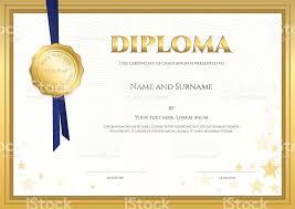 elegant diploma certificate template forcompletion gold  elegant diploma certificate template forcompletion gold border royalty stock vector art