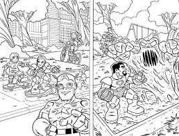 Small Picture Super Hero Squad Protecting Kid on Playground Coloring Page NetArt